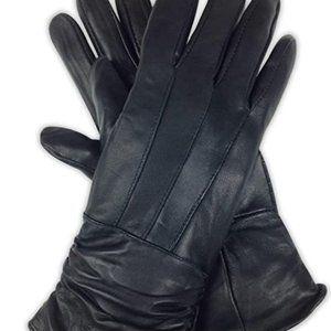 Luxurious soft women's black leather sheepskin lea